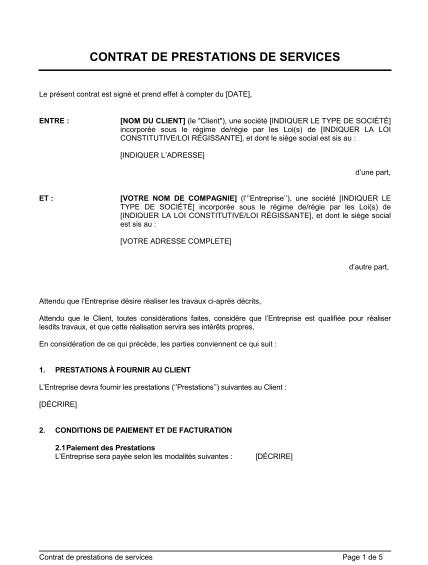 Modèle De Contrat De Prestation De Services Mise à Jour 2020