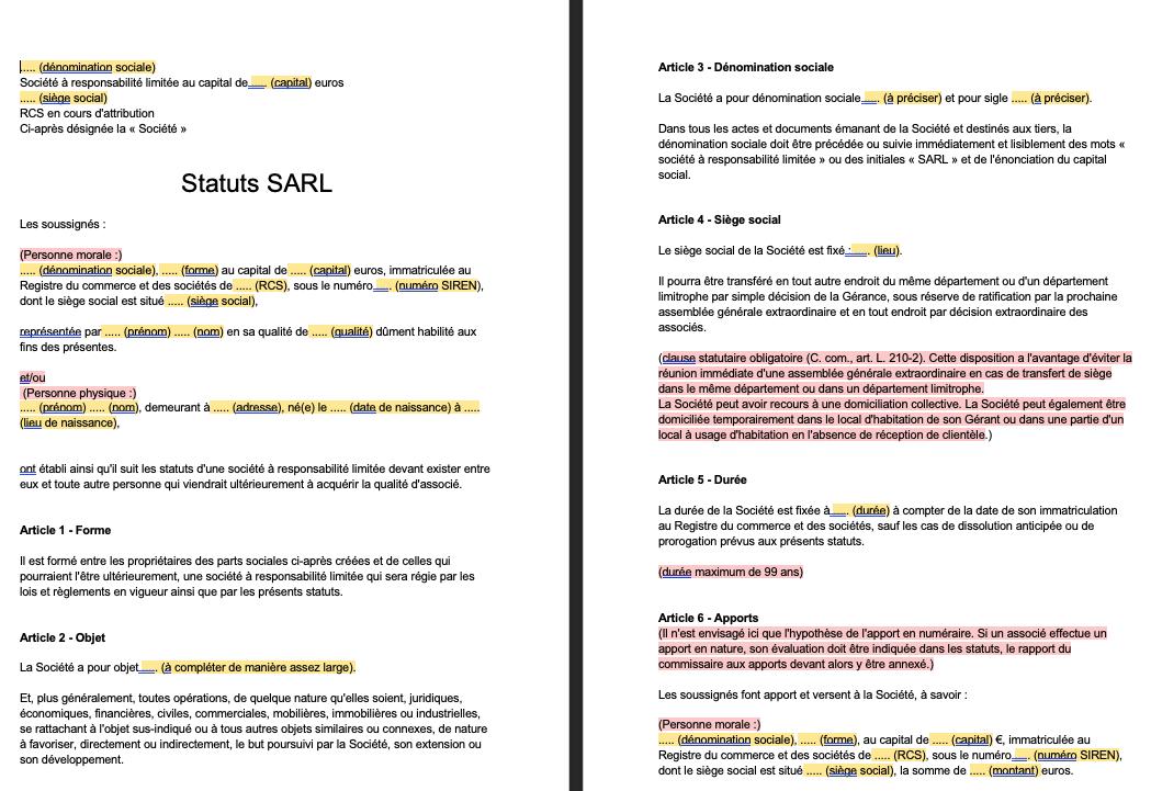 Modèle de statuts SARL gratuit