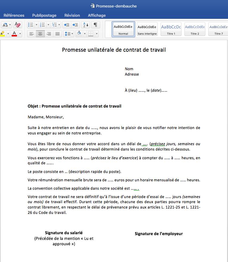 Modele Promesse D Embauche A Telecharger Mise A Jour 2020