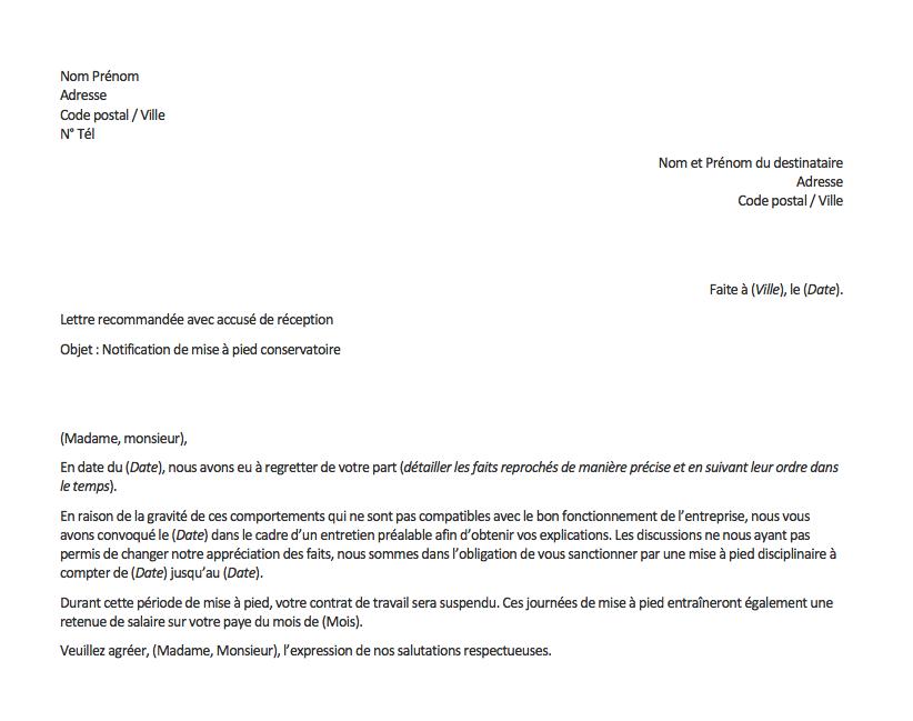 lettre mise a pied conservatoire