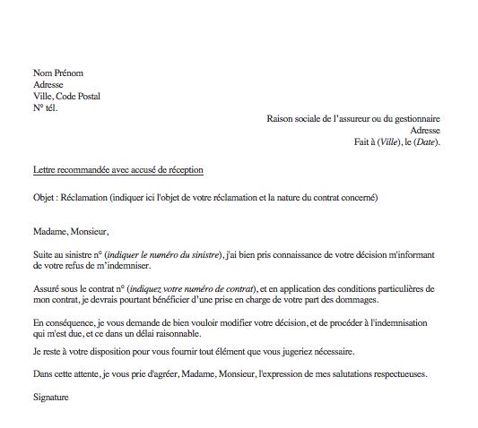 lettre reclamation assurance