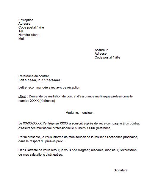 lettre resiliation assurance professionnelle