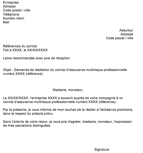 lettre resiliation multirisque pro