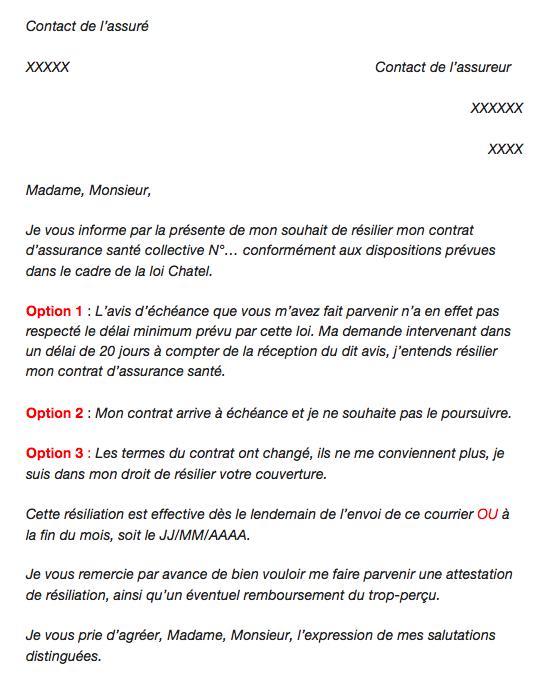 lettre resiliation mutuelle employeur