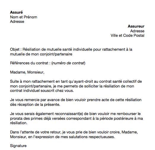 lettre resiliation mutuelle obligatoire conjoint