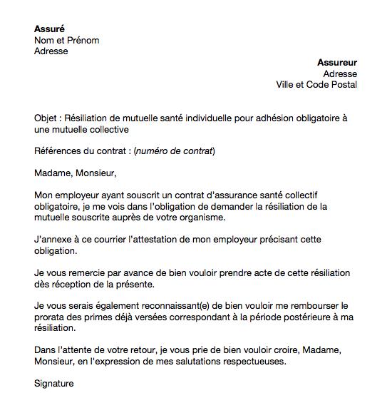 lettre resiliation mutuelle pour mutuelle obligatoire