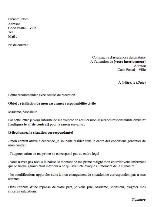 lettre resiliation rc pro