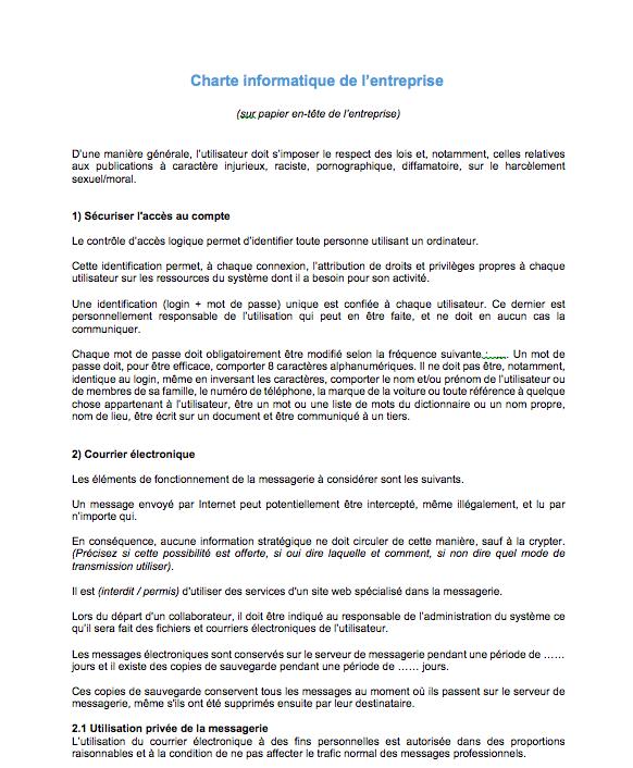 modele charte informatique