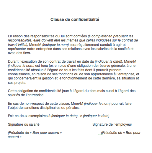 modele clause de confidentalite