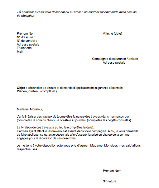 modele lettre declaration sinistre garantie decennale 2