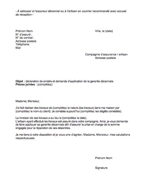 modele lettre declaration sinistre garantie decennale