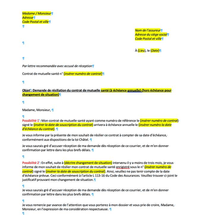 lettre de resiliation mutuelle