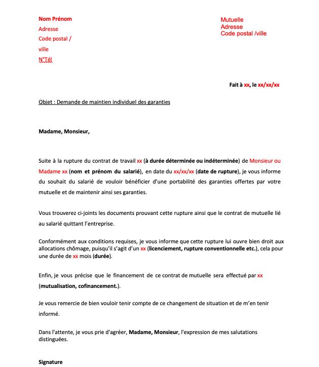 Modele lettre de demande de maintien individuel des garanties