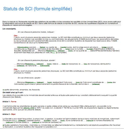 statuts sci