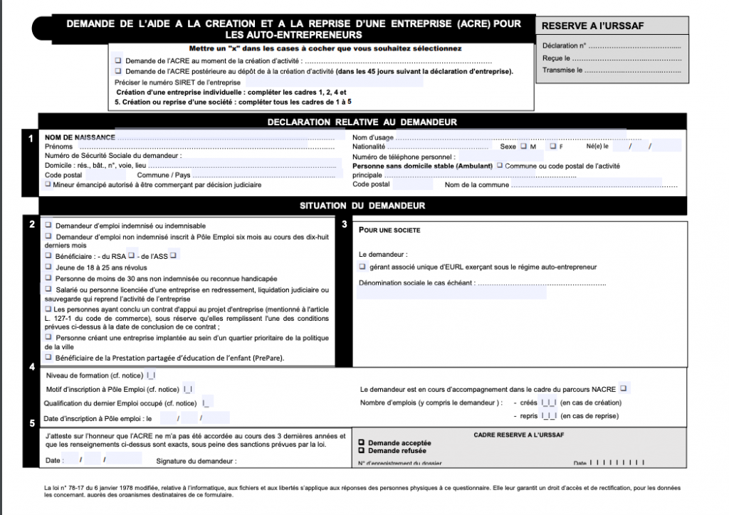 formulaire demande acre