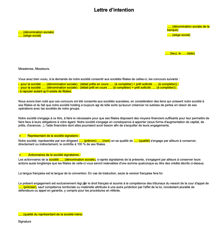lettre dintention modele