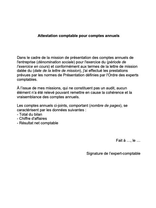 attestation comptable