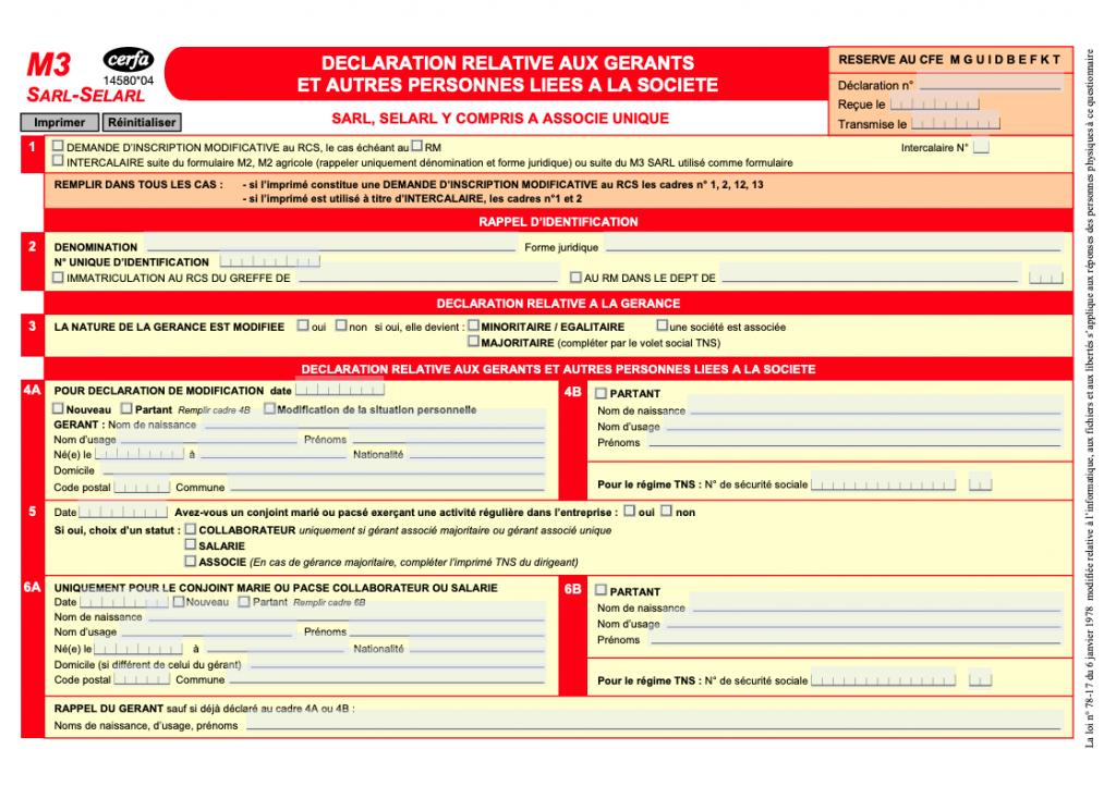 formulaire m3 sarl selarl