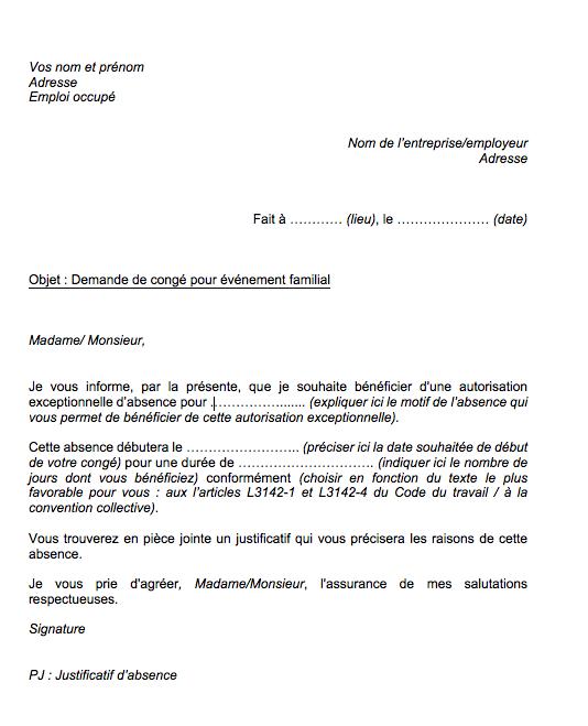 lettre demande de conge exceptionnel