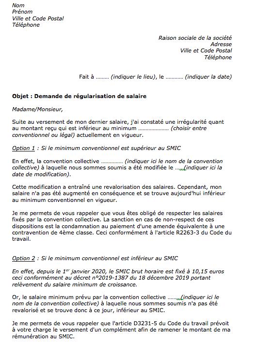 Modele De Lettre Demande Regularisation Salaire Document Gratuit Mise A Jour 2021
