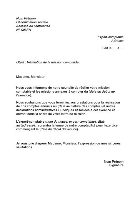 lettre résiliation comptable