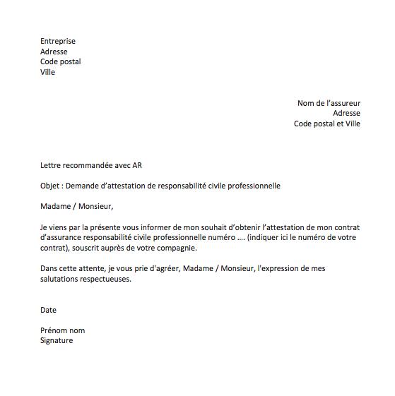 lettre demande attestation rc pro