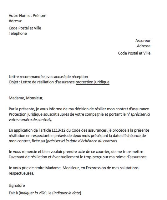 lettre r u00e9siliation protection juridique   notre mod u00e8le