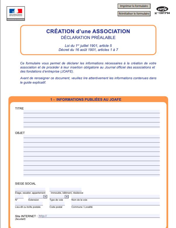 formulaire creation association