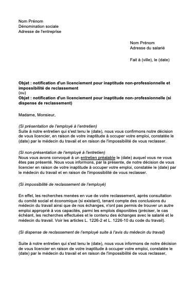 lettre licenciement inaptitude non professionnelle