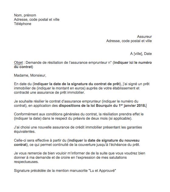 lettre resiliation assurance emprunteur loi bourquin