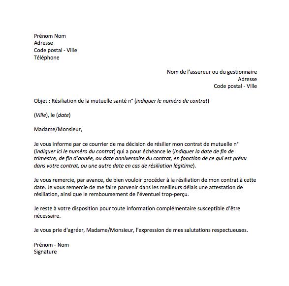 lettre resiliation mutuelle