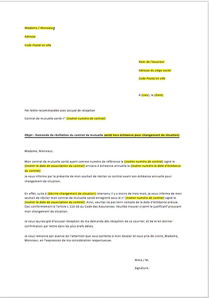 lettre de resiliation mutuelle sante hors echeance