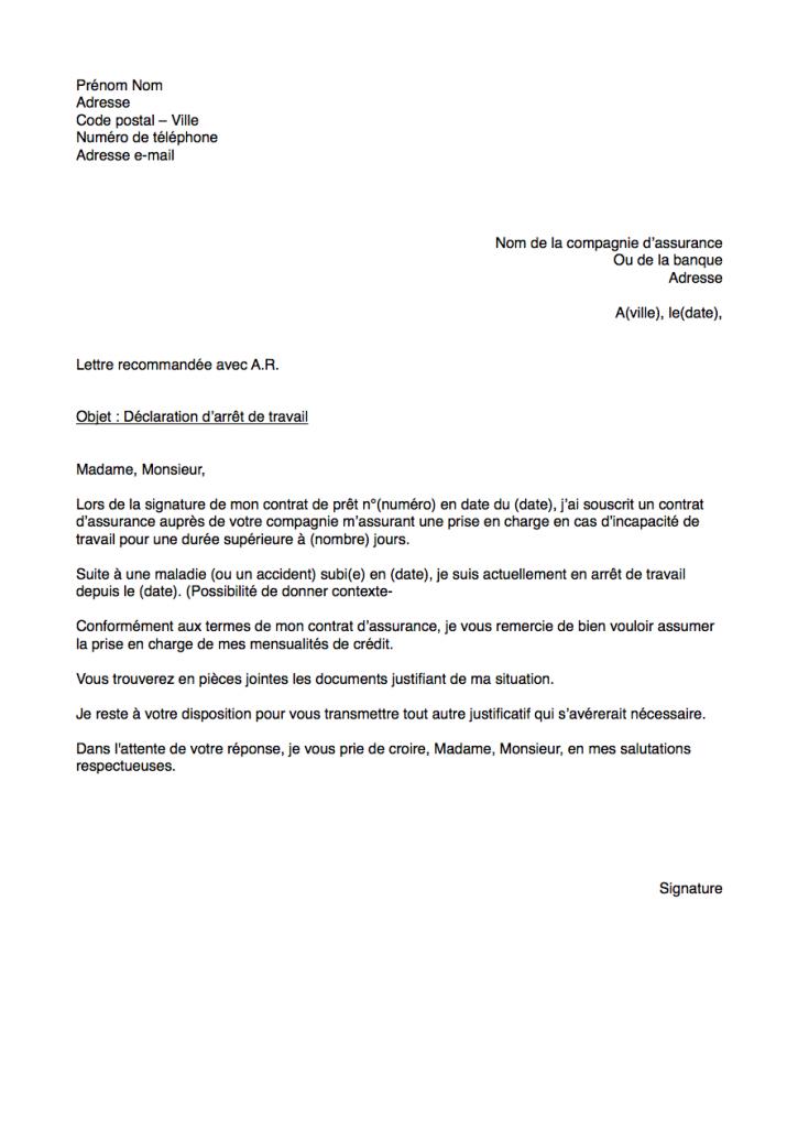lettre demande prise en charge assurance emprunteur