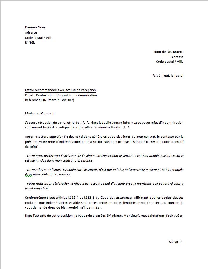 lettre contestation refus indemnisation assurance pret