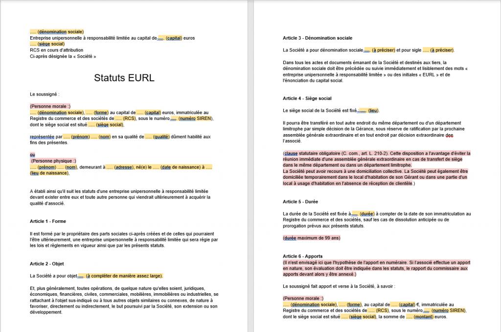 Modèle de statuts EURL