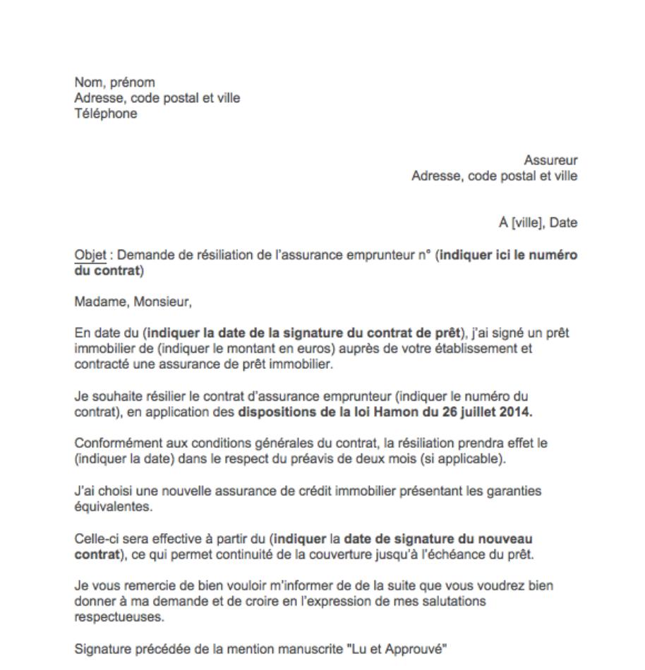 lettre resiliation assurance pret immobilier