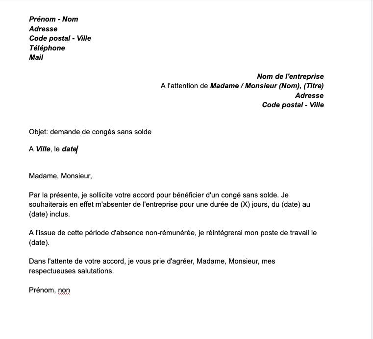 Modele De Demande De Conge Sans Solde Document A Telecharger Mise A Jour 2021