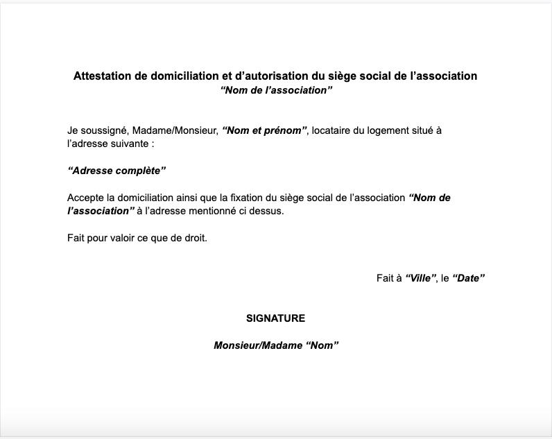 attestation domiciliation association