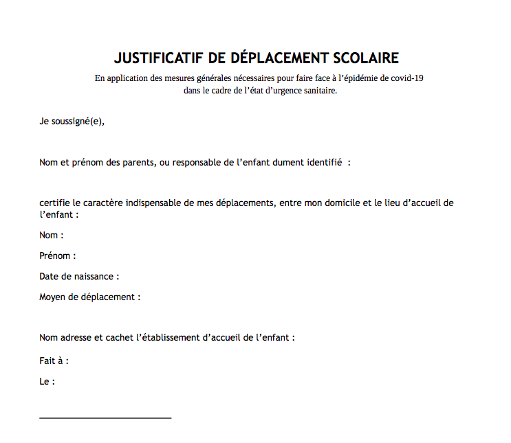 Justificatif De Deplacements Scolaires Telechargez Le Document Officiel Mise A Jour Octobre 2020