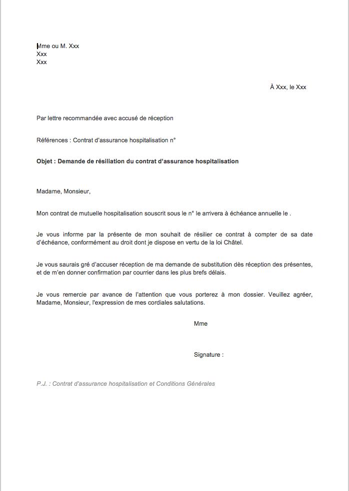 lettre de resiliation assurance hospitalisation