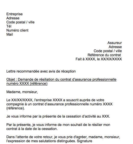 lettre resiliation contrat assurance professionnelle pour cessation activite