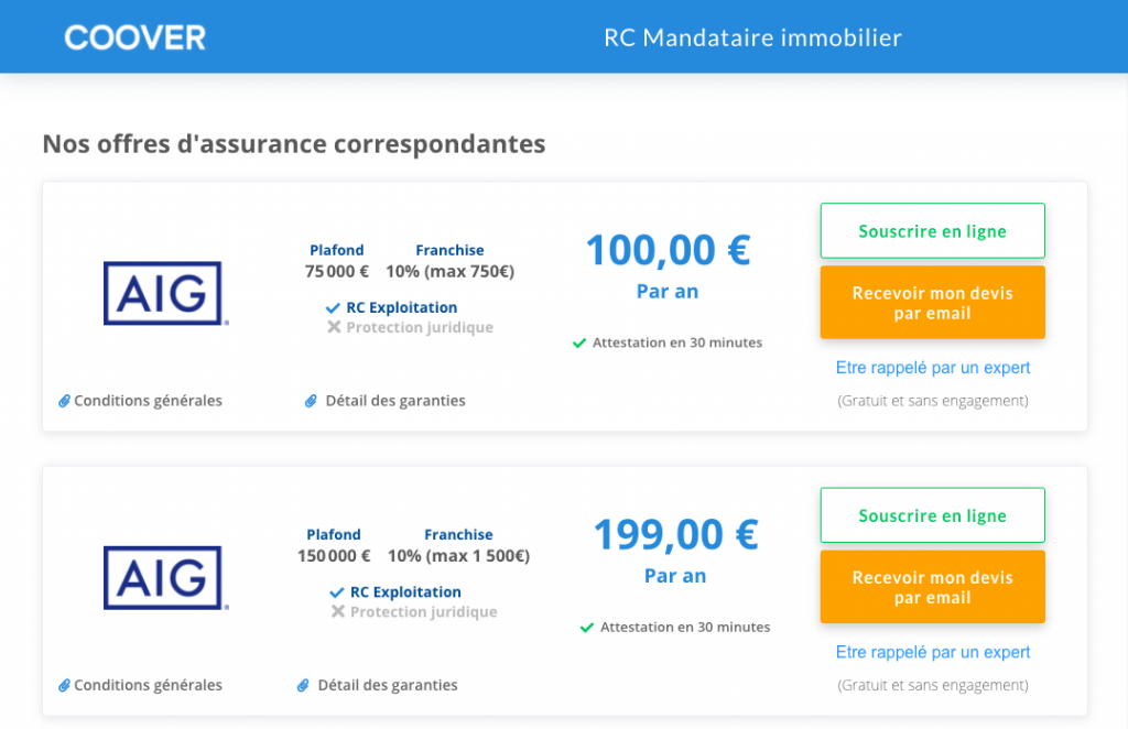 RC Pro agent commercial immobilier