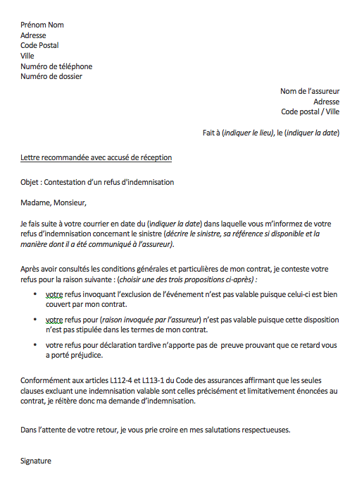 lettre de contestation assurance