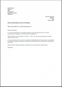 lettre retractation assurance vie