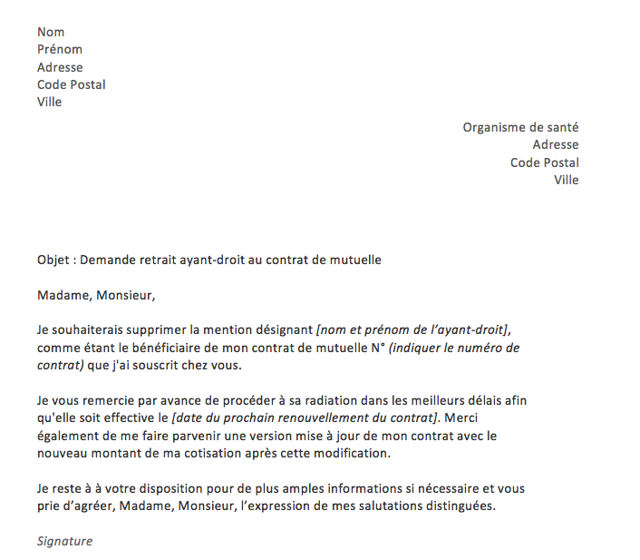 lettre retrait ayant droit mutuelle