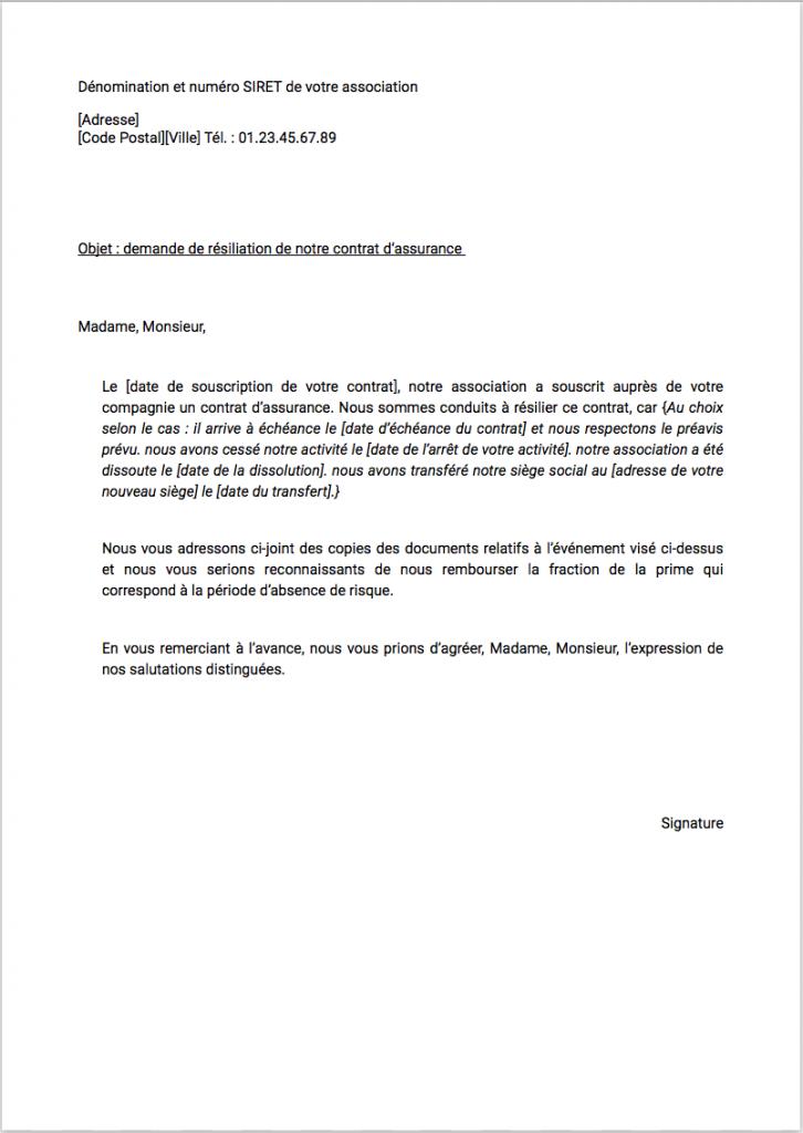 modele lettre resiliation assurance association