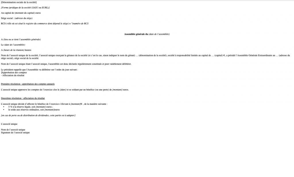 modèle approbation des comptes SASU