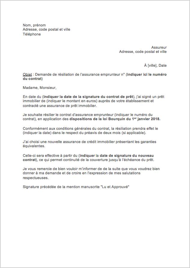 lettre resiliation assurance pret immobilier loi bourquin