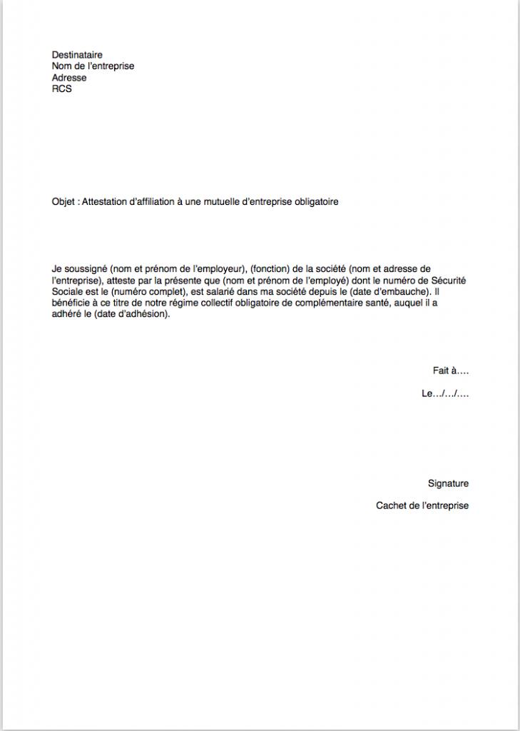modele attestation employeur mutuelle obligatoire 1