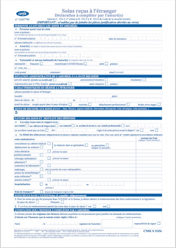 s315 formulaire remboursement soins etranger